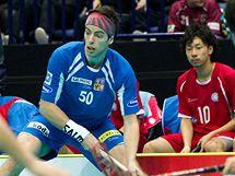 Štěpán Slaný (uprostřed) v utkání proti Japonsku