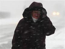 Silný vítr a husté sněžení ve Staměřicích na Přerovsku.
