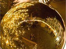 Vánoční výzdoba na Horním náměstí v centru Olomouce.