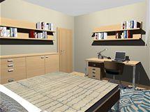 Proměna obývacího pokoje s krbem a dvou podkrovních místností