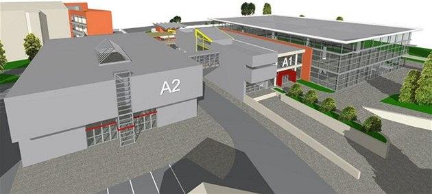Vizualizace nové podoby výstavi�t� Flora, v tomto p�ípad� i s novým pavilonem A2, s ním� zatím první fáze úprav nepo�ítá.