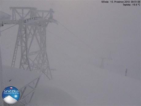 Počasí na Sněžce před 10. hodinou (15: prosince 2010)