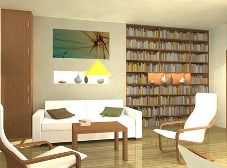 Vizualizace - obývací pokoj s knihovnou