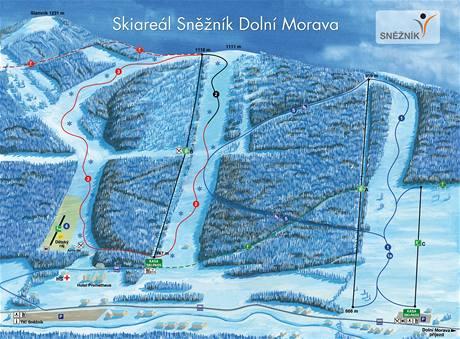 Plánek lyžařského střediska v Dolní Moravě.