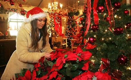 Eva Markusková z týmu prodejců ve Vánočním domě upravuje vystavené dekorace.