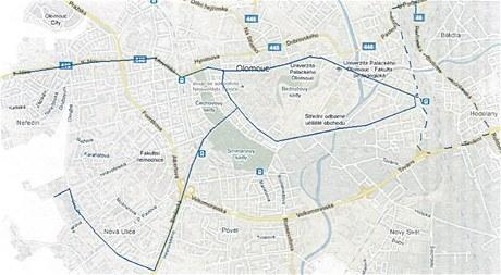 Mapa nové olomoucké noční linky číslo 50. Čárkovaně je znázorněna trasa varianta přes Pavlovičky, do které zajíždějí dva spoje.