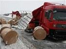 Polský kamion s papírem zablokoval v sobotu ráno silnici R35 ve směru na Ostravu.