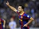 OSLAVA GÓLU. Xavi z Barcelony oslavuje vstřelený gól.