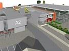Vizualizace nové podoby výstaviště Flora, v tomto případě i s novým pavilonem A2, s nímž zatím první fáze úprav nepočítá.