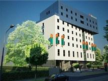 Vizualizace vzhledu nového olomouckého tříhvězdičkového hotelu Ibis, který se staví ve Wolkerově ulici.