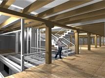 Vizualizace opraveného interiéru olomoucké Korunní pevnosti, kde chce Univerzita Palackého vybudovat Pevnost poznání.