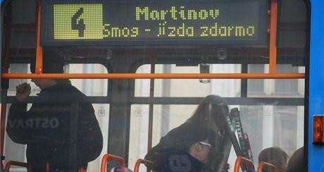 Bezplatná MHD v Ostravě v době smogové situace.