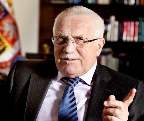 Prezident Václav Klaus při rozhovoru pro MF DNES.