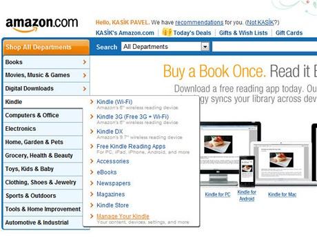 Manage Your Kindle slouží ke správě nastavení vašeho Kindle účtu