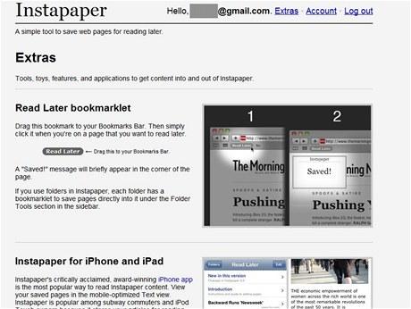 Instapaper nabízí snadný způsob, jak evidovat články k přečtení a později se k nim skutečně dostat
