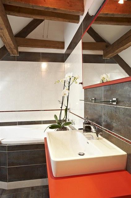 Koupelna je v jednoduchém moderním provedení