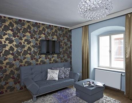 Hlavní obytné místnosti dominuje známé svítidlo navržené slavnou designérkou Patricií Urquiolou pro společnost Foscarini