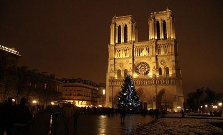 Bezpečnostní opatření ve vánoční Paříži u katedrály Notre Dame