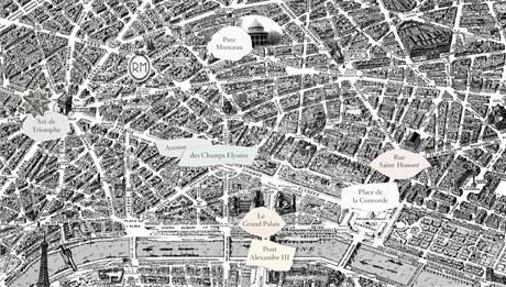 Mapa centra Paříže