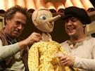 Nová pohádka Pinocchio ve Slováckém divadle. Na snímku Tomáš Šulaj a Pavel Majkus (vlevo).