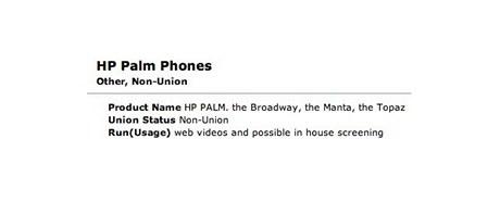 Casting na herce v reklamě na nové produkty HP Palm