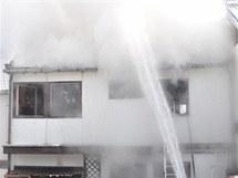 Požár dřevěného domu v Konici na Prostějovsku.