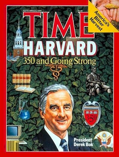 Derek Bok na titulu časopisu Time
