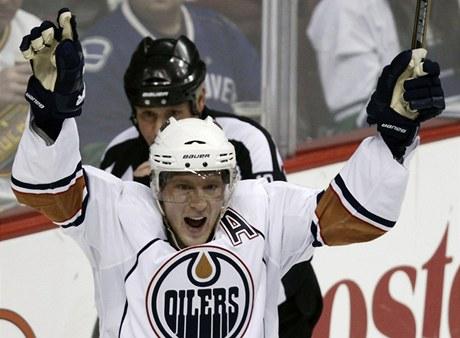 Ale� Hemsk� z Edmontonu Oilers se raduje z g�lu.