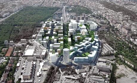 Takto by m�la vypadat realizace projektu �i�kov City v m�stech dne�n�ho n�kladov�ho n�dra�� v Praze 3