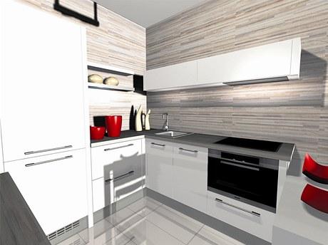 Nadčasové. Bílá lesklá barva prostor opticky zvětšuje, obkladové desky ke stropu dodávají kuchyni eleganci