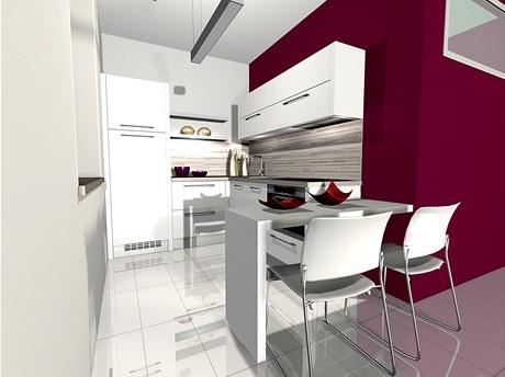 Možná varianta. Vínová barva je sice hodně výrazná, ale na rozdíl od nábytku ji lze časem snadno změnit