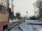 Srážka auta s motorovým osobním vlakem v Kostelci nad Orlicí