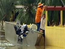 Televizní záběry australské stanice ABC ze zaplaveného města Rockhampton (2. ledna 2011)