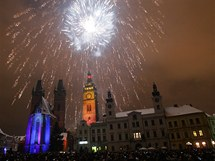 Novoroční ohňostroj v Hradci Králové (1. ledna 2011)