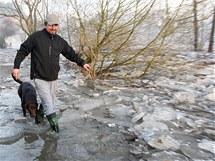 Pole ledových ker a vylitá řeka z břehů na okraji plzeňského Koterova.