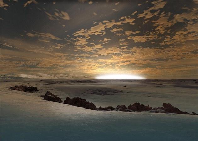 Mo�ný vzhled povrchu planety CoRot 7b (okraj odvrácené strany) podle Rona Millera