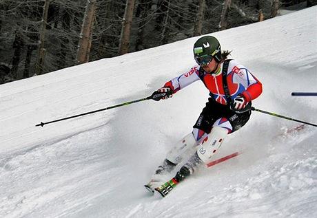 Ondřej Bank trénuje v lyžařském středisku Dolní Morava-Sněžník na svahu U Slona