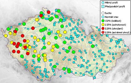 Aktuální stavy a průtoky na tocích v ČR