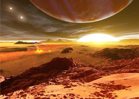 """Planeta samotn� spad� do t��dy """"hork�ch Jupiter�"""" - plynn�ch obr�, kte�� jsou dvakr�t (a v�ce) bl�e hv�zd�, ne� Zem� Slunci. Ron Miller nakreslil mo�nou sc�nu viditelnou z jej�ho potenci�ln�ho m�s�ce. Planeta zab�r� dominantn� ��st oblohy."""