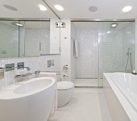 Na stěnách hlavní koupelny byla použita bílá perleťová mozaika