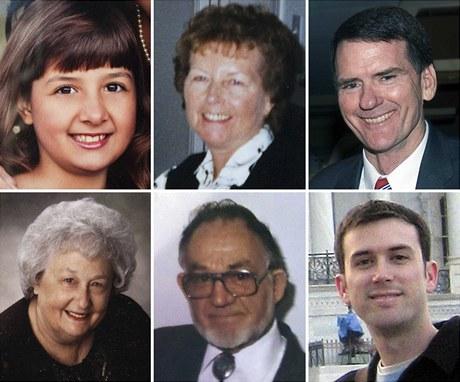 Obětí arizonského střelce (nahoře zleva) Christina Taylorová Greenová (9), Dorothy Morrisová (76), soudce John Roll (63), (dolní řada zleva) Phyllis Schnecková (79), Dorwin Stoddard (76) a Gabe Zimmerman (30)