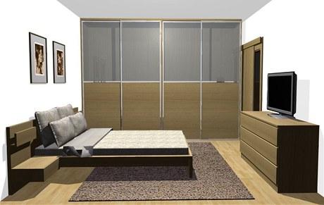 Ložnice nabízí dostatek úložného prostoru díky vestavěným šatním skříním