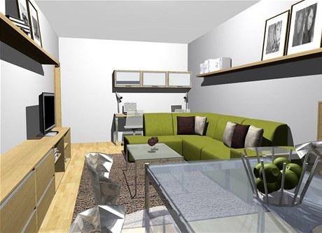 Obývací pokoj je současně i jídelnou a pracovnou