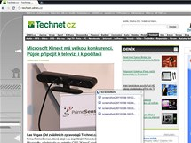 Snímek obrazovky - otevřená stránka Technet.cz a miniokénko Stažené soubory (složka Screenshots)