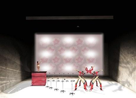 z představení Třicátá Marinina láska na Nové scéně ND (vizualizace scény)