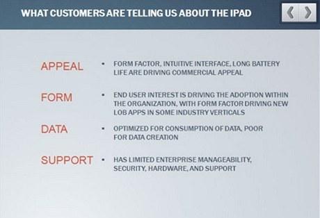 Co nám zákazníci říkají o iPadu? Je intuitivní, dlouho vydrží, ale poptávka po něm je poháněná uživateli. Hodí se na konzumaci dat, nikoli jejich vytváření.