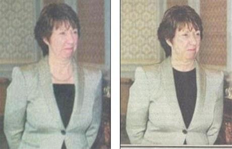 V některých íránských denících měla šéfka evropské diplomacie límeček pod náhrdelníkem, jindy zakrýval i klíční kosti