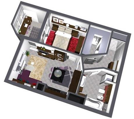 Druhá varianta řešení bytu 2+1 má již změněnou dispozici. Přibyla šatna, z lodžie je pracovna