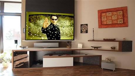 Pokud majiteli nevyhovuje obrazovka, sta�� jedno tla��tko a ze stropu se vysune pl�tno a projektor