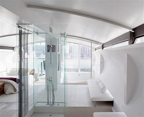 Horní patro je celé zasvěcené prvku vzduchu, který symbolizuje sklo a čistota prostoru. Dojem lehkosti Kushner umocnil použitím bílé barvy a zaoblenými rohy